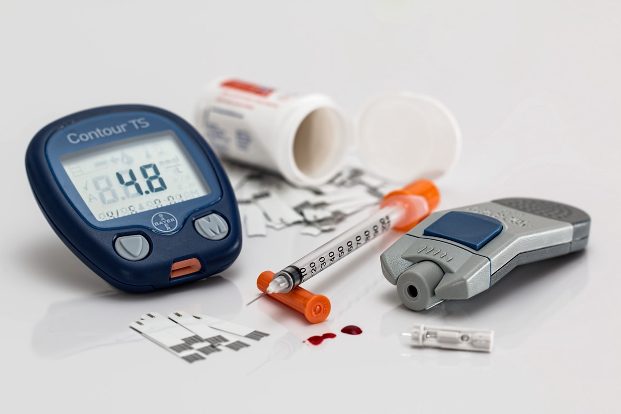 insulin equipment blood glucose monitor and syrigne