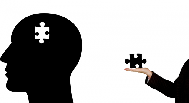puzzle piece out of a mans brain wow