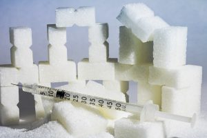 sugar cubes and a syringe