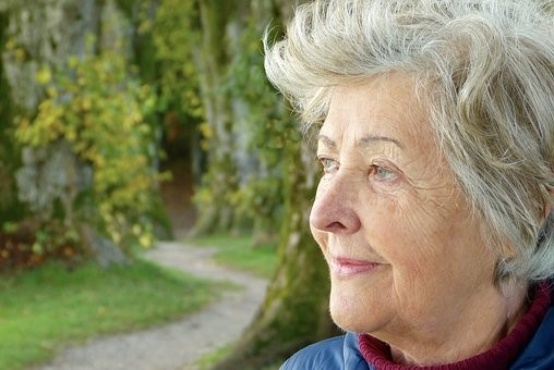 an old woman with white hair