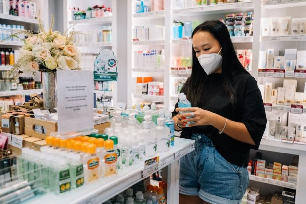 A woman at a pharmacy